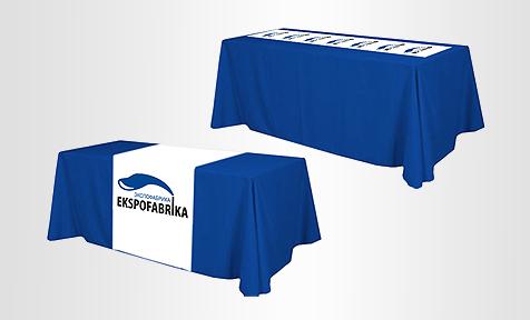 Скатерть или дорожка с логотипом из баннерной ткани или ткани-стретч